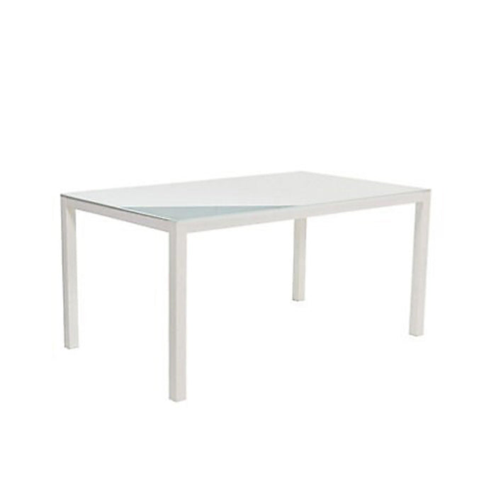 Janeiro Dining Table 6 Seater Outdoor Garden Metal Table With Glass Top - Image 2