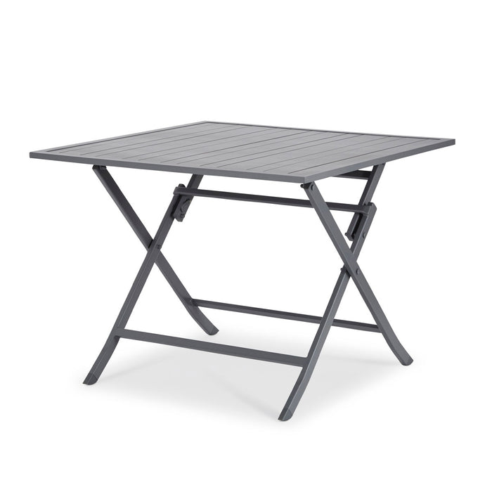 Blooma Dining Table Batang Metal 4 Seater Foldable Dark Grey Outdoor Garden - Image 1