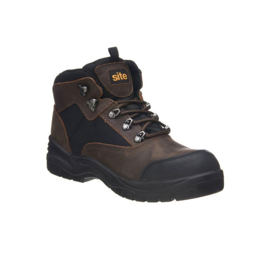 Site Mens Safety Leather Boots Onyx Steel Toe Cap Brown Wide Fit UK 10 - Image 1