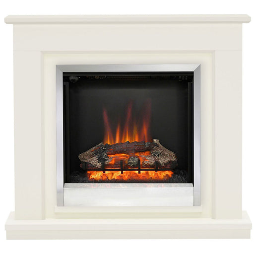 Be Modern Edmonton Electric Fire Suite Fireplace Soft White - Image 1