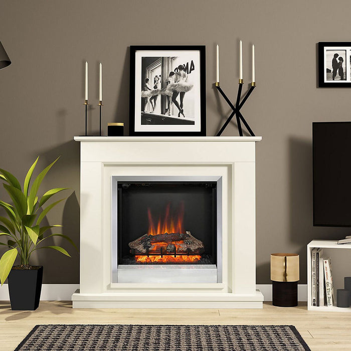 Be Modern Edmonton Electric Fire Suite Fireplace Soft White - Image 2
