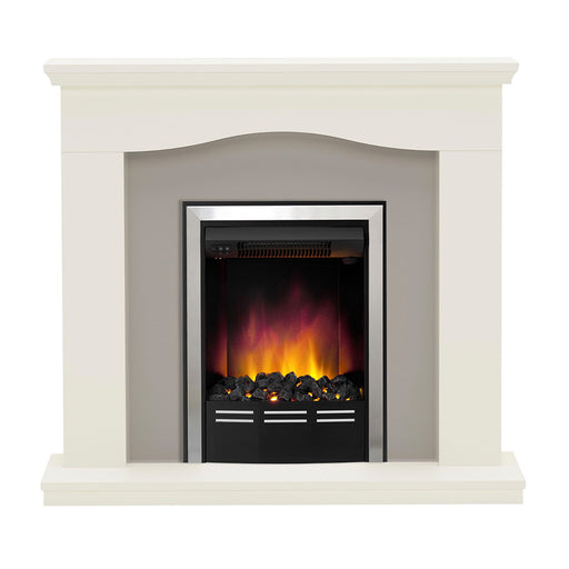 Be Modern  Electric Fire Suite Penelope Soft White Suede Effect - Image 1