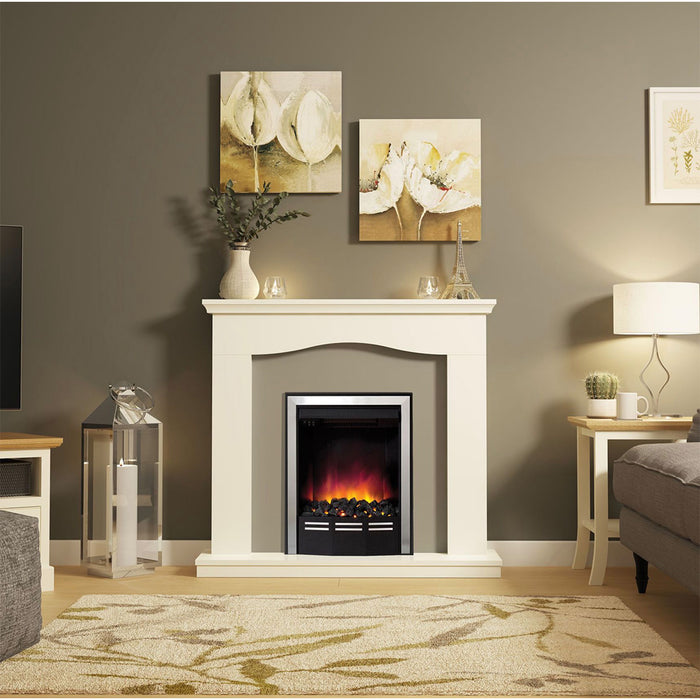Be Modern  Electric Fireplace Suite Penelope Soft White Suede Effect 2kW - Image 2
