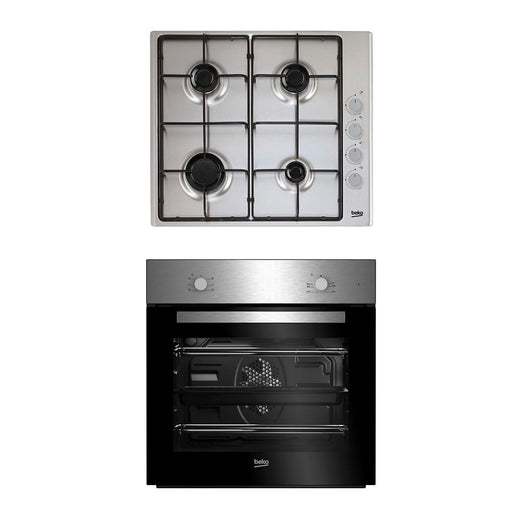Beko Single Multifunction Oven and Gas Hob Set Black Stainless Steel QSE223SX - Image 1