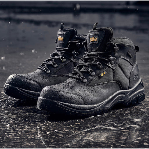 Site Mens Work Safety Boots Black Onyx Leather Steel Toe Cap Waterproof UK 7 - Image 1