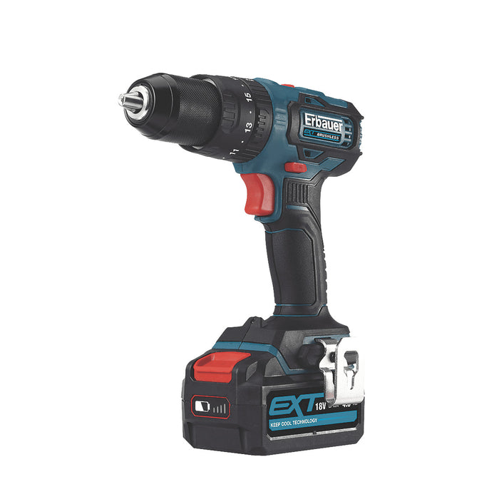 Erbauer Combi Drill EXT Cordless Brushless 18V 1 x 4Ah Lithium-ion ECD18-Li-2 - Image 1