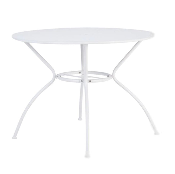 Garden Metal 4 Seater Table Compact Vernon Round Dia 95cm White Non-foldable - Image 1