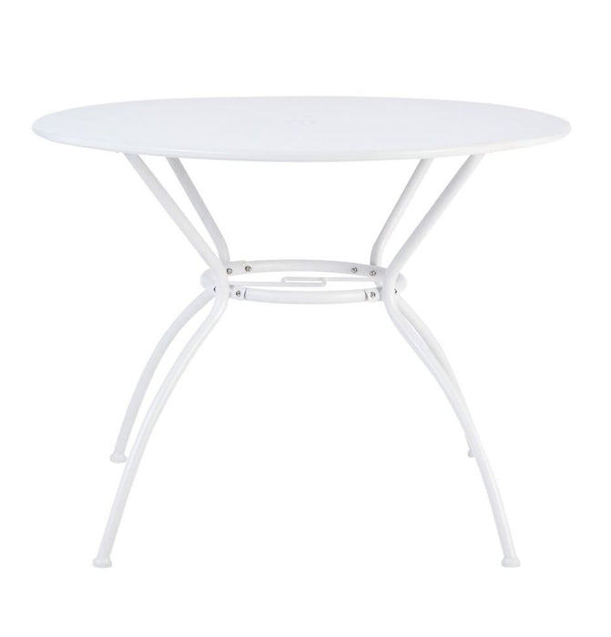 Garden Metal 4 Seater Table Compact Vernon Round Dia 95cm White Non-foldable - Image 2