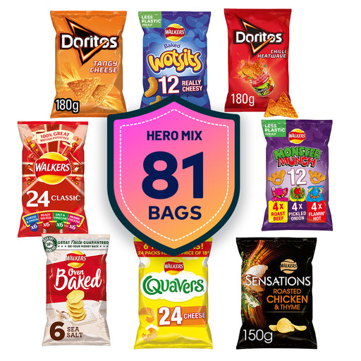 Walkers Mixed 81 Bags Crisps Doritos Monster Quavers Cheese Chicken Thyme Baked - Image 1
