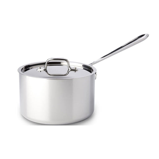 All-Clad Sauce Pan with Lid Stainless Steel Tri-Ply 4-Quart Silver 3.79 liters - Image 1