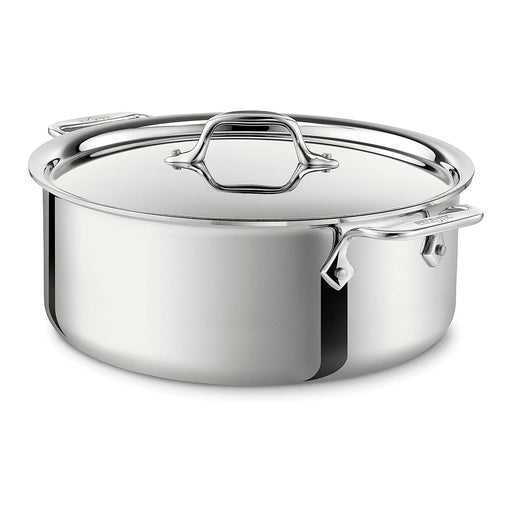 All-Clad Stockpot with Lid Stainless Steel Tri-Ply BondedCookware 6-Quart Silver - Image 1