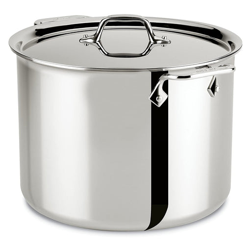 All-Clad Stockpot with Lid Steel Tri-Ply Bonded Cookware 12-Quart Silver - Image 1