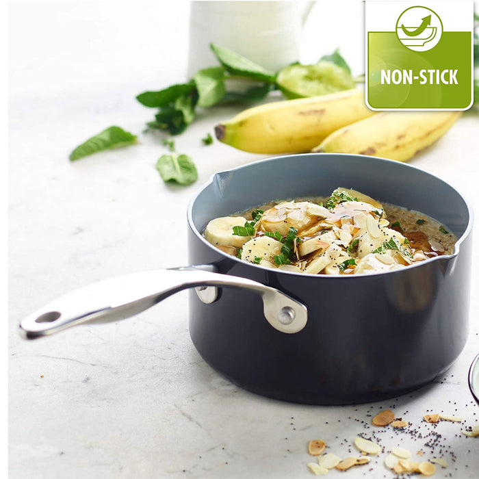GreenPan Venice Induction Pro Nonstick Saucepan with 2 Spouts 16cm/1.6L  Grey - Image 2