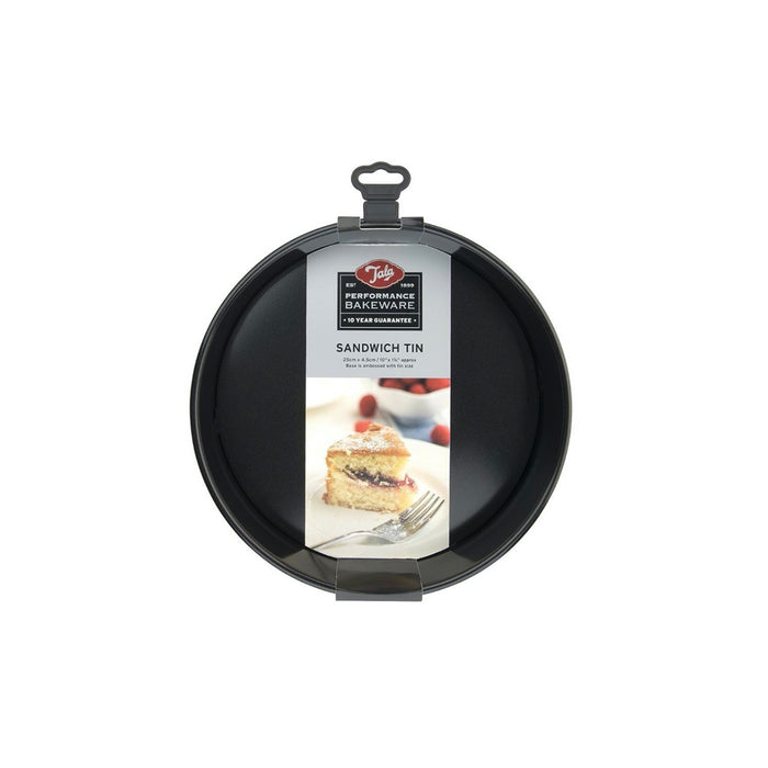 Tala Performance Sandwich Cake Tin 25cm Black Round Non-Stick Carbon Steel - Image 1