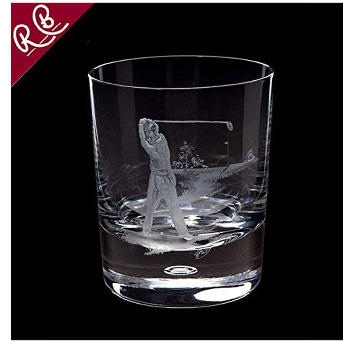 Royal Brierley 1-Piece Crystal Engraved Golfer Tumbler Glass Clear - Image 3