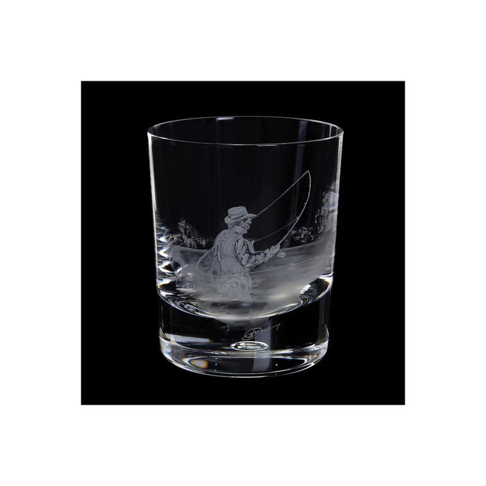 Royal Brierley Crystal Whisky Glass Tumbler Hand Engraved Fly Fishing 30ml 30cl - Image 2