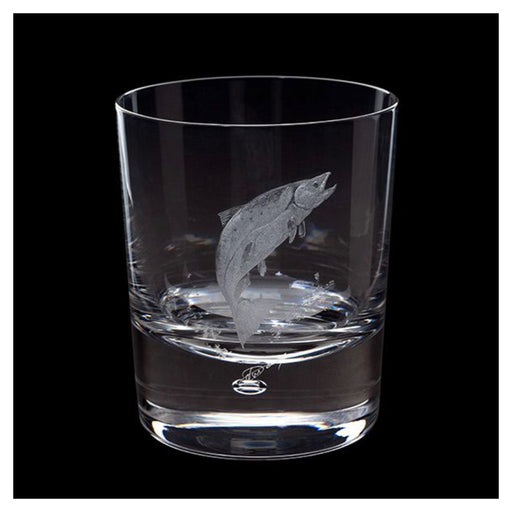 Engraved Salmon Tumbler Single Clear 30cl Hand made Free-hand Engraved - Image 1
