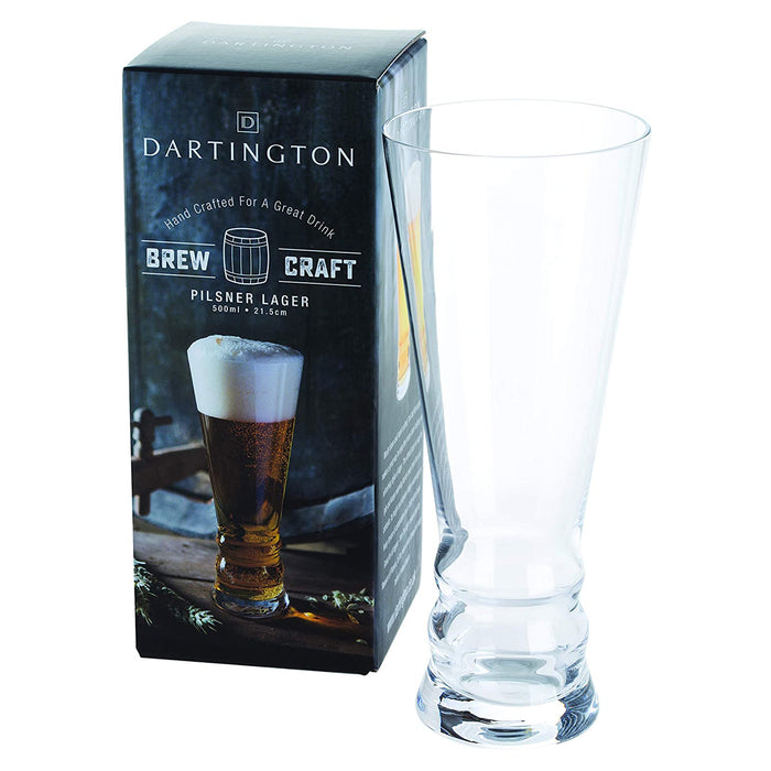 Dartington Crystal Brew Craft Pilsner Lager Single Glass 500 ml Clear - Image 1