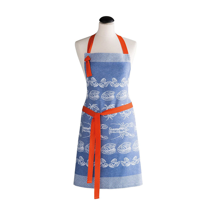 Jacquard Cooking Apron Blue Peach COUCKE Pure Cotton - Image 1