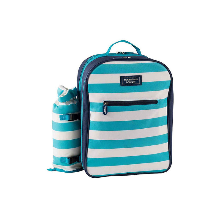 Summerhouse Coast Picnic Backpack 4 Person Aqua Striped Bottle Holder - Image 1