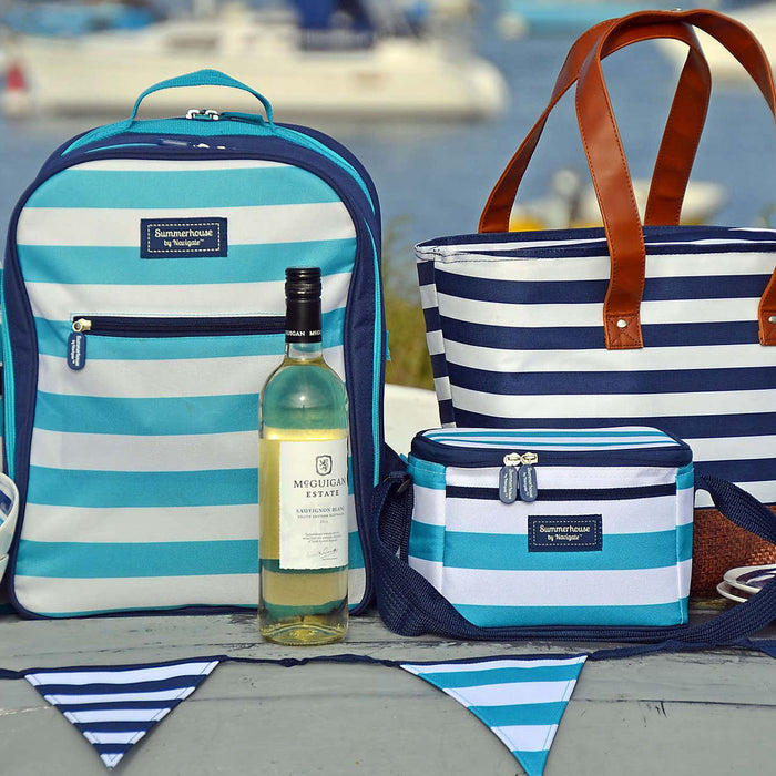 Summerhouse Coast Picnic Backpack 4 Person Aqua Striped Bottle Holder - Image 3