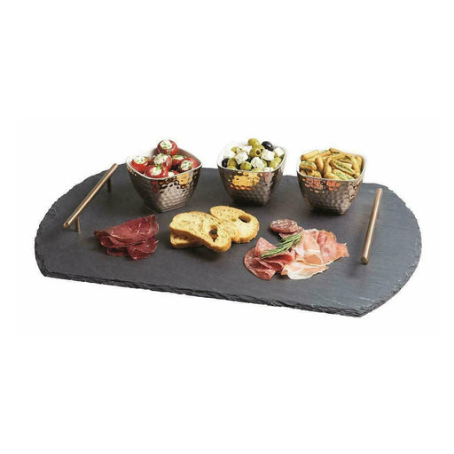 Artesa Slate Serving Tray and Copper-Finish Bowls 4 Piece Set Wood Copper - Image 1