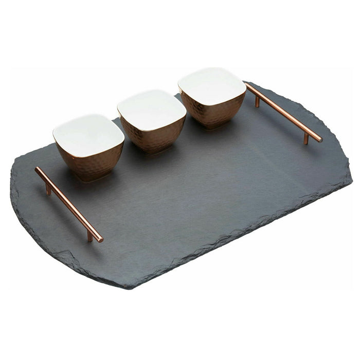 Artesa Slate Serving Tray and Copper-Finish Bowls 4 Piece Set Wood Copper - Image 2