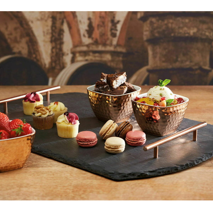 Artesa Slate Serving Tray and Copper-Finish Bowls 4 Piece Set Wood Copper - Image 3
