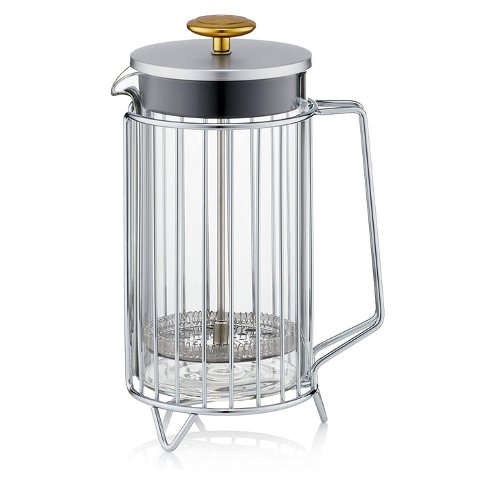 Barista & Co Corral Luxury Stainless Steel Coffee Press 8 Cup 3 Mug 1L Steel - Image 3