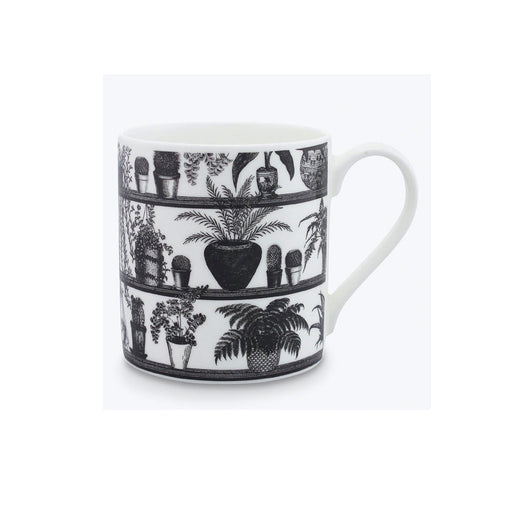 Alice Scott Hothouse Mug 400ml Black White Dishwasher and Microwave Safe - Image 1