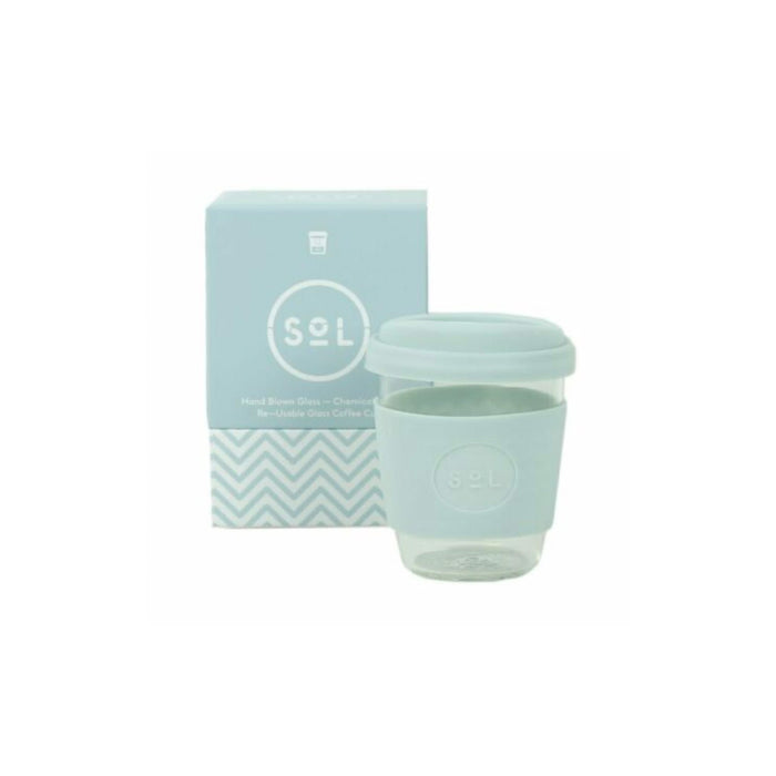 Reusable Glass Coffee Cup 12 oz /354ml SoL Cups Travel Mug Pale Blue - Image 2