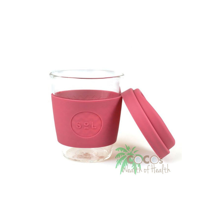 SoL Glass Coffee Cup 12 oz /340ml Cups Travel Mug Radiant Rose Reusable - Image 1