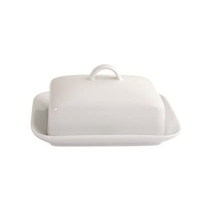 Arctic Vitrified Porcelain Butter Dish, White - Image 1
