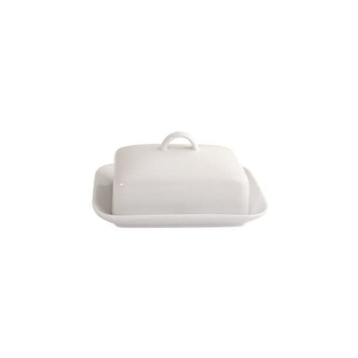 Arctic Vitrified Porcelain Butter Dish, White - Image 2