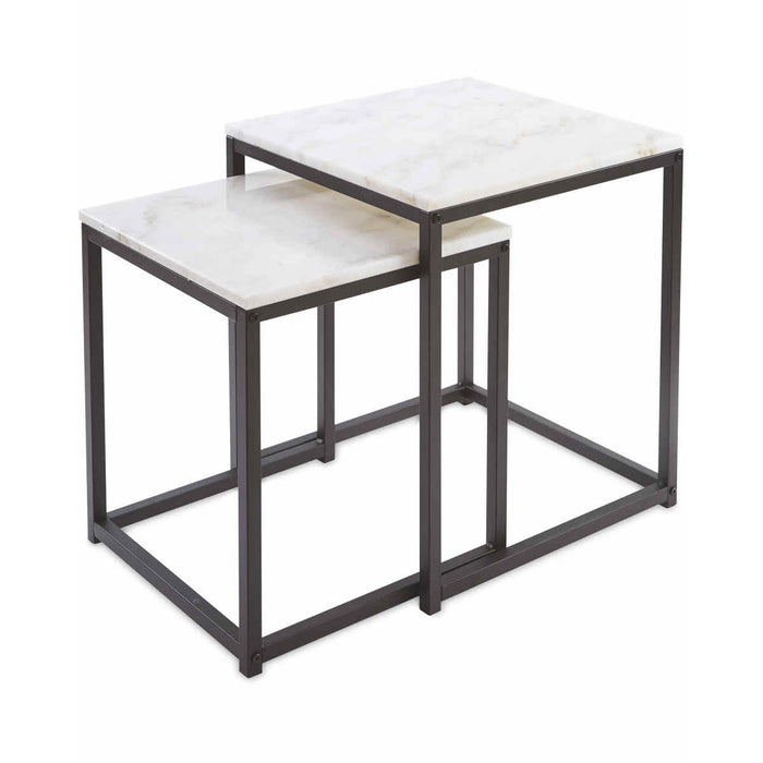 Kirkton House Nest of 2 Tables Real Marble Top Modern Space Saving Side Tables - Image 1