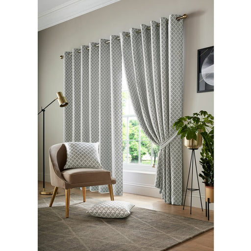 Dorcas Cotsworld Silver Pair of Eyelet Darkening Blackout Curtains 167x137cm - Image 1