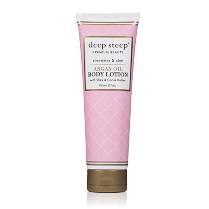 Deep Steep Argan Oil Rosewater Aloe Body Lotion 8oz - Image 1