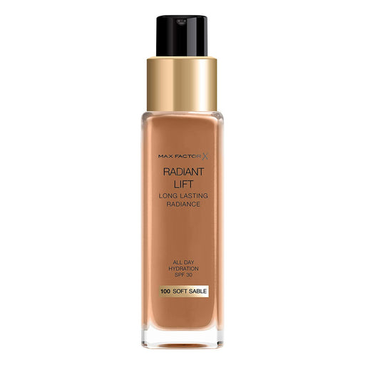 Max Factor Radiant Lift Liquid Finish Foundation 100 Soft Sable for Dark Skin 30ml - Image 1