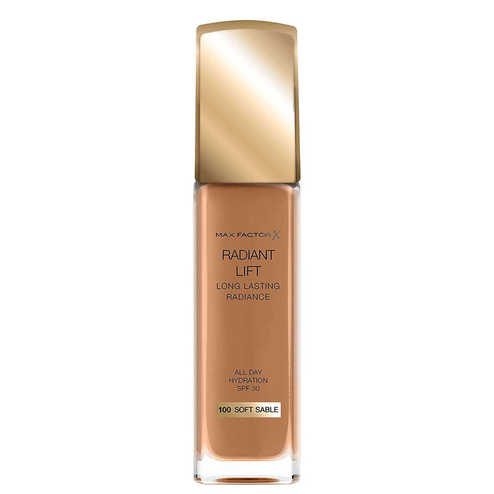 Max Factor Radiant Lift Liquid Finish Foundation 100 Soft Sable for Dark Skin 30ml - Image 2