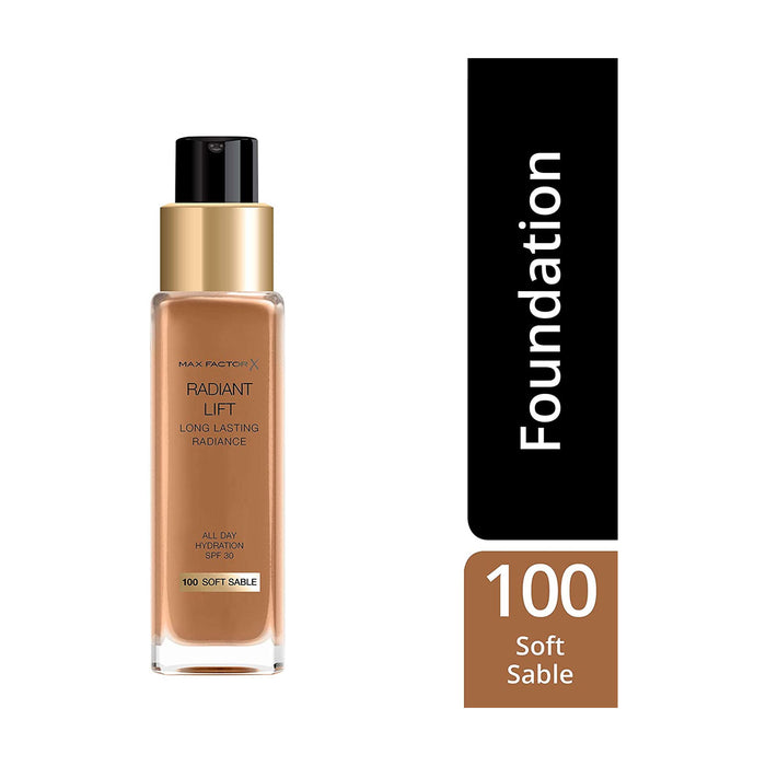 Max Factor Radiant Lift Liquid Finish Foundation 100 Soft Sable for Dark Skin 30ml - Image 3