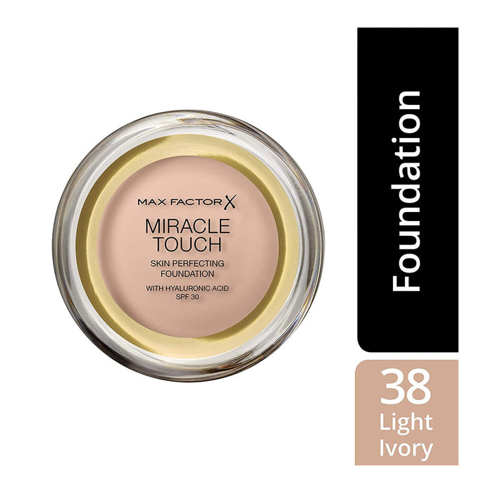 Max Factor Miracle Touch Foundation New and Improved Formula 38 Light Ivory - Image 2