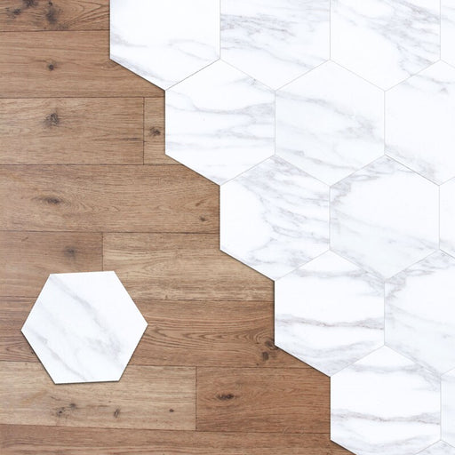 HLC Marble Hexagon Minimalist Hexagon 20 x 23cm PVC Mosaic Tile Set of 10 - Image 1