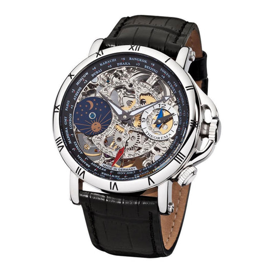 "Theorema Sao Paolo ""Silver BlackLeather"" Mechanical Watch - Image 1"