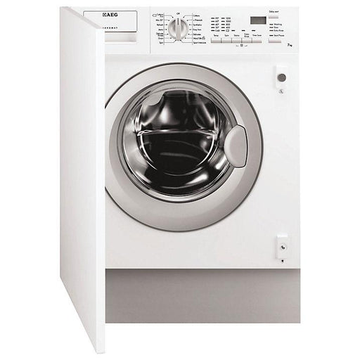 AEG L61271BI Built-In Integrated Washing Machine, 7kg Load, A++ Energy Rating, 1200rpm Spin, White - Image 1
