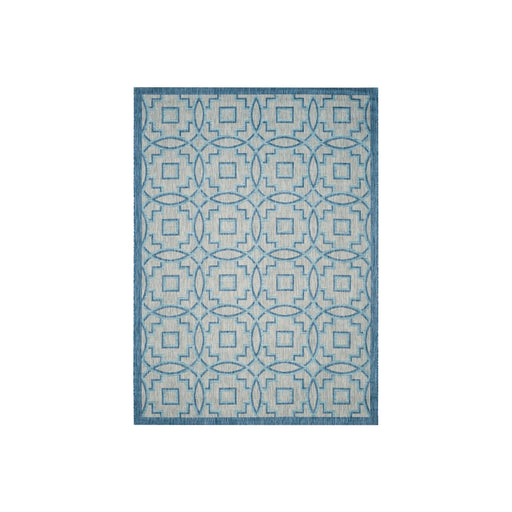 McDaniel Rug Grey Aqua Blue Geometric Indoor Outdoor 243 x 335cm - Image 1