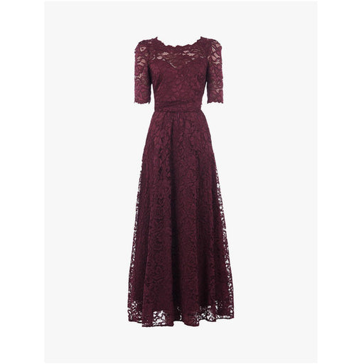 Jolie Moi Elbow Sleeve Lace Dress Burgundy Size 10 - Image 1