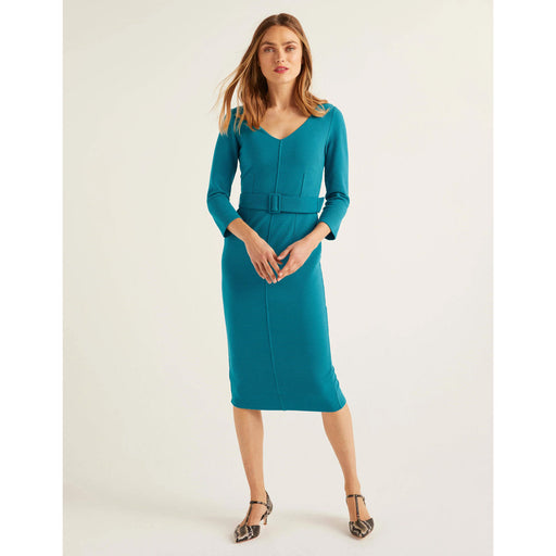 Margie Ottoman V-Neck Dress Vibrant Teal Size UK 12 Midi Dress With Detachable Belt - Image 1