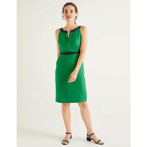 Boden Linen Dress Oriel Rich Emerald UK 10 R - Image 1