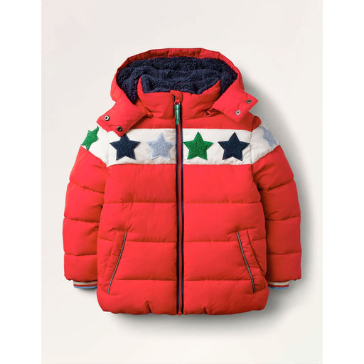 Boden Padded Jacket Cosy Star Bouclé Rockabilly Red Bouclé 3-4Y 104 Cm - Image 1