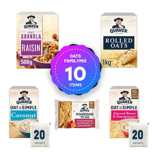 10 x Mix Quaker Oats So Simple To Go Porridge Granola Oat Snacks Bars - Image 1